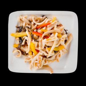 Calamari with vegetables in soy sauce.