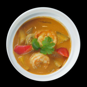 Red curry with shrimps and aubergines