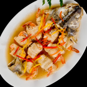 Pike-perch with tiger shrimps